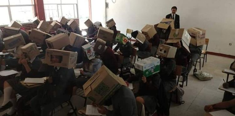 Luis Juárez Texis Had Students Wear Cardboard Boxes To Prevent Cheating