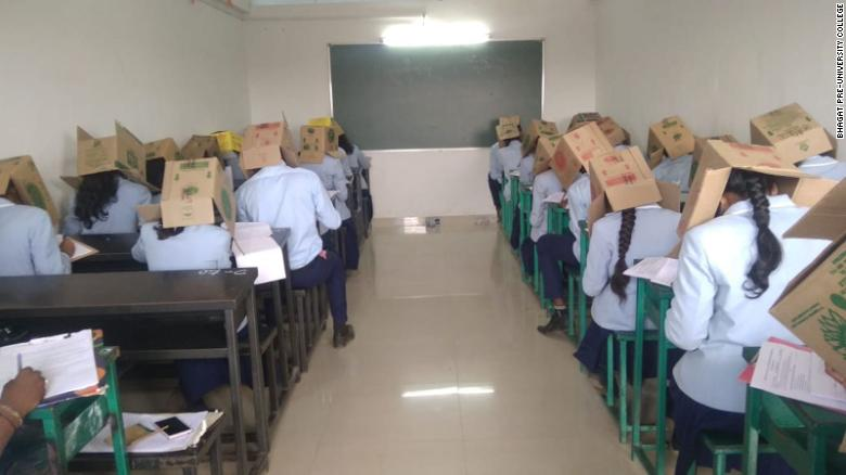 Indian College Had Students Wear Cardboard Boxes To Prevent Cheating