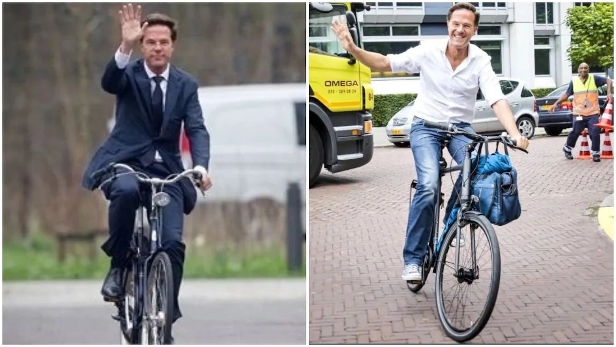 Mark Rutte, Prime Minister of the Netherlands, Drives A Bicycle To Work