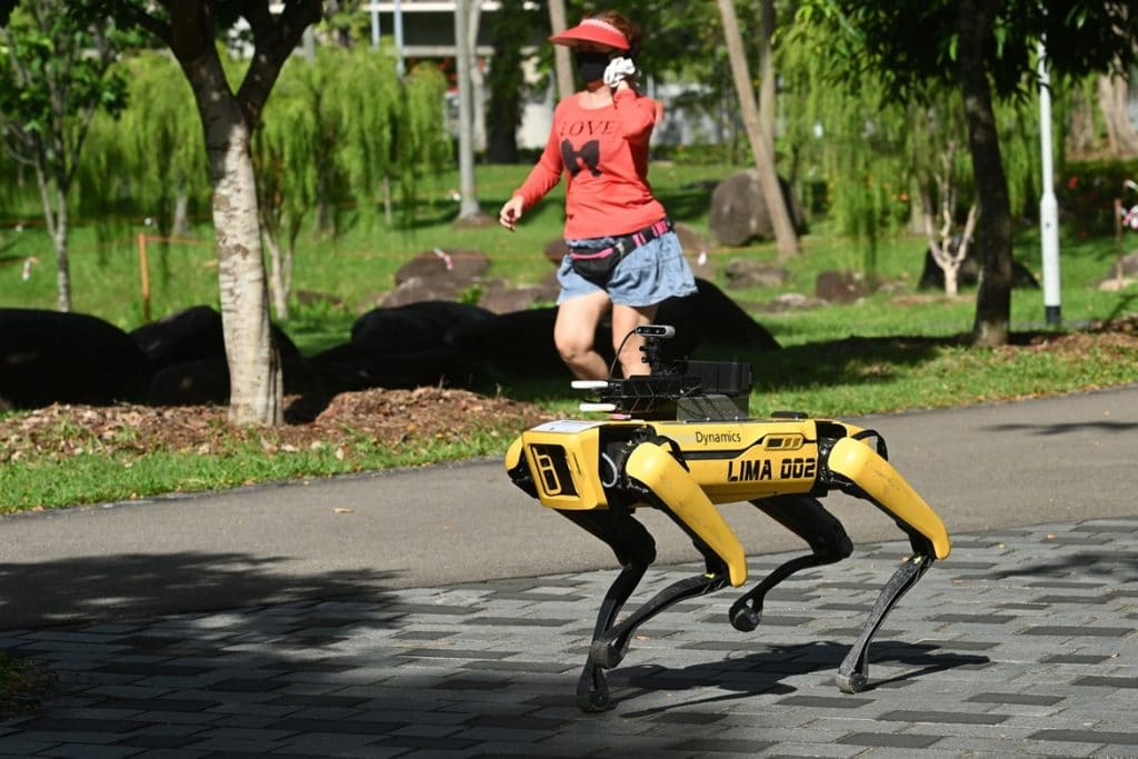 Spot By Boston Dynamics Is Implementing Social Distancing In Singapore