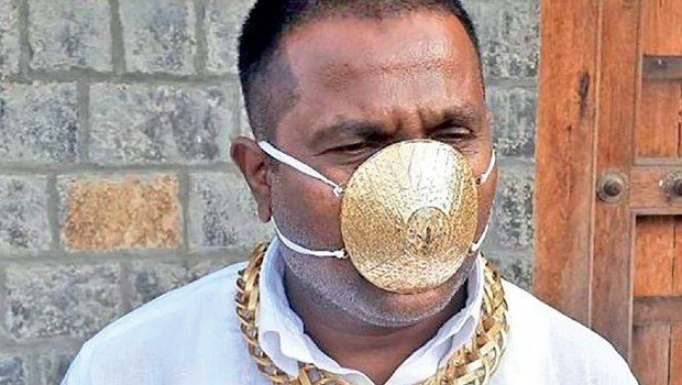 Indian Guy Wears A Gold Face Mask Amidst COVID-19 Pandemic
