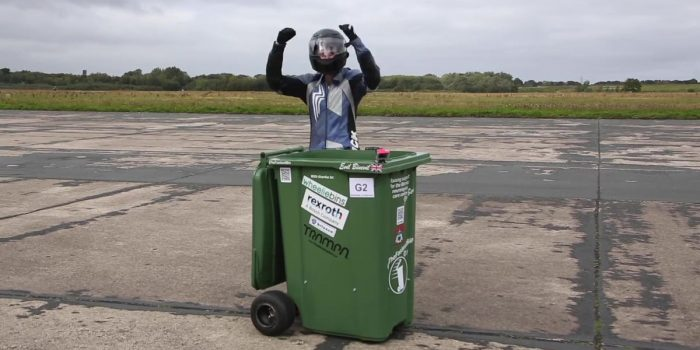 Worlds fastest garbage can record break.