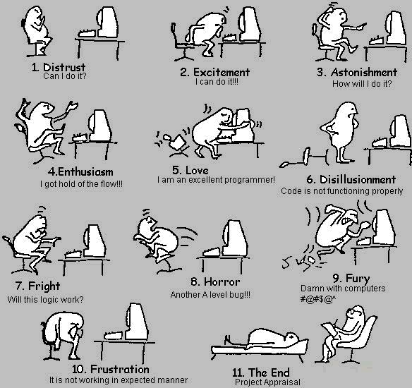 These eleven stages of a project.