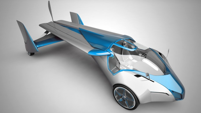 The wings fold back to make the flying car fit on the roadways.  It also runs on automotiv...