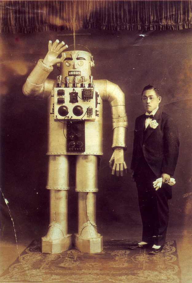 From 1932. Yasutaro Mitsui and his steel humanoid.