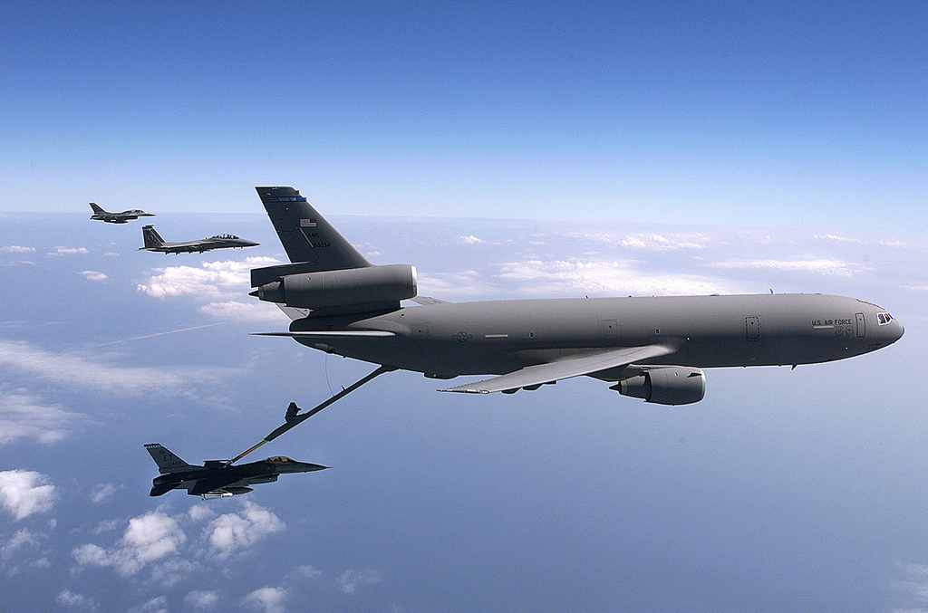 An F-16 Fighting Falcon refuels from a KC-10 Extender