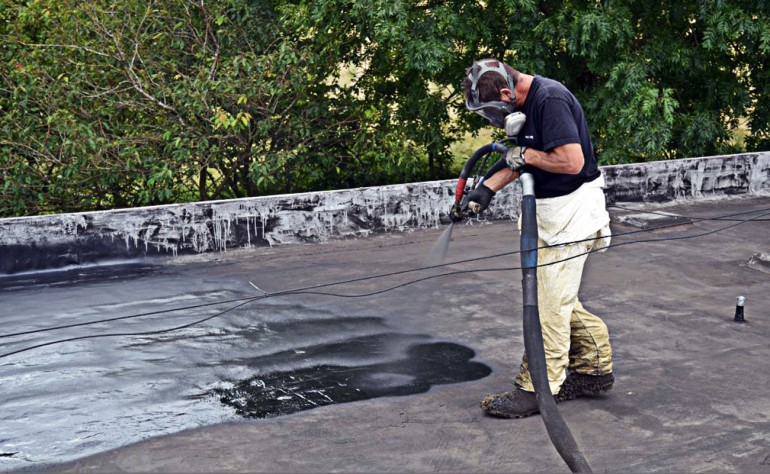 The coating is sprayed on an existing surface, then an aggregate material applied (Photo: ...