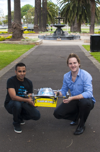 Zookal's Ahmed Haider and Vimbra's Matthew Sweeny with Flirtey.