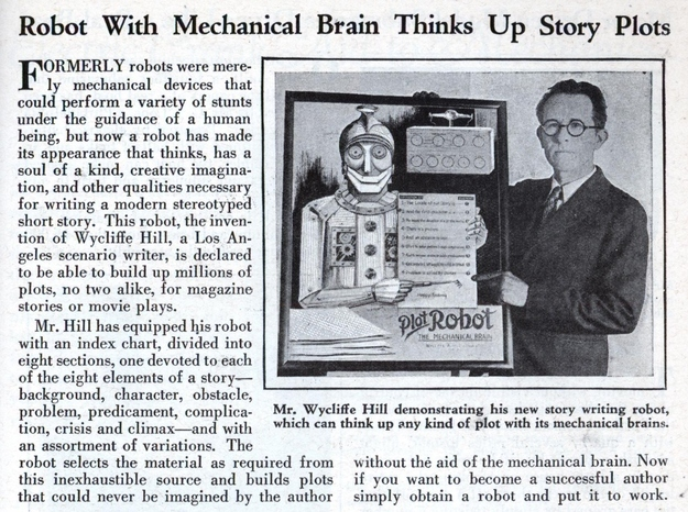 "From 1931. The ""Plot Robot"" has a soul..."
