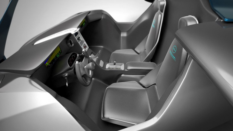The Aeromobil cockpit is very snug, and has two steering wheels, one for the ground and th...