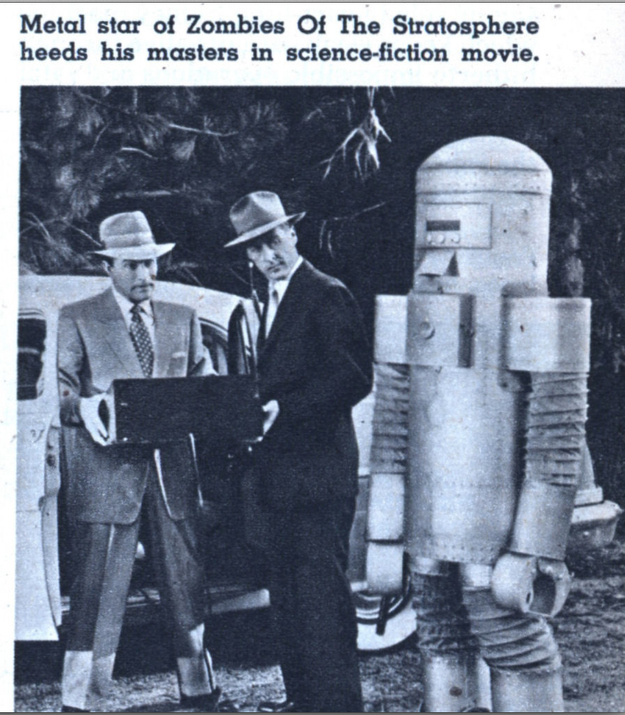 From 1957. Zombie Robot is dormant, waiting for the signal.
