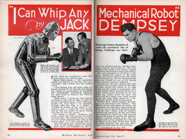 From 1934. The Manassa Mauler was a tough Mick — like me — but that robot would've punched holes through him.