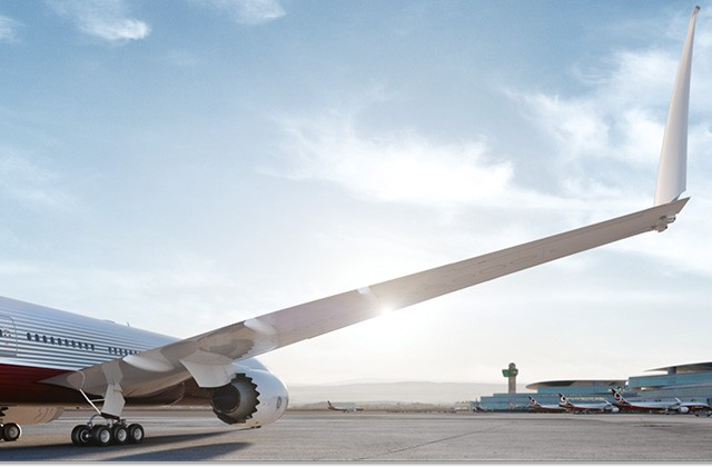 The 777X has folding wing-tips to increase wingspan and fuel-efficiency without limiting a...